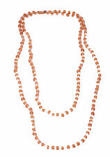 DELICATE LONG NECKLACE WHITE / LIGHT BROWN PLASTIC BEADS HIT (ZX18)