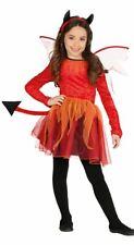 Girls  Winged Devil Fancy Dress Costume Halloween Demon Kids Outfit