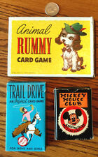 Lot of 3 Card Games w/ box MICKEY MOUSE CLUB, TRAIL DRIVE, ANIMAL RUMMY Very Goo