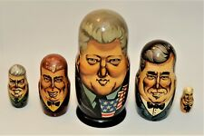 Nesting Dolls US Presidents 1993 5pcs  Made & Purchased in Russia RARE & Signed