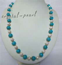 turquoise AAA SOUTH SEA NATURAL White PEARL NECKLACE 14K GOLD CLASP