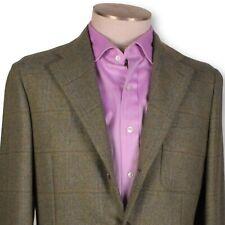 NWT BELVEST Light Green-Blue Windowpane Rough British Tweed Unlined Sportcoat 40