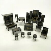 13 Pieces Vintage Wood Black & Gold Oriental Dollhouse Miniature Furniture 1:12