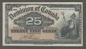 DOMINION OF CANADA 1900 25 CENT NOTE BOVILLE