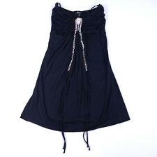 Sky Womens Small Black Strapless Blouse Skull Chain