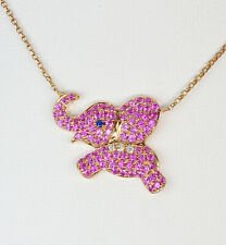 14k PINK SAPPHIRE RUBY DIAMOND BABY ANIMAL ELEPHANT PENDANT NECKLACE STATEMENT