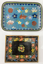 Antique Vintage Chinese Cloisonne Enamel Undertray Dishes Bowls Floral