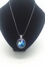 Vintage Blue Unicorn Cabochon Glass Tibet Silver Pendant Leather Necklace New #4