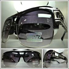 OVERSIZED RETRO HIP HOP RAPPER Style SUNGLASSES Black Silver Frame For Big Heads