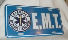 "EMT EMERGENCY MEDICAL TECHNICIAN BLUE METAL LICENSE PLATE TAG 6"" X 12""   NEW"