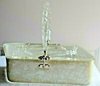 1950's Florida Handbags Parallelogram Carved Lucite Hinged Purse Removable Cover