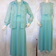 VTG 70s John Lane Aqua Lace Maxi Gown Cocktail Dress Jacket Brady Bunch Groovy M