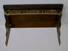 Wood Brass Wall Shelf Mid Century Modern Retro Book Holder Vintage Old Asian