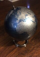 Silver And Blue World Globe 13""