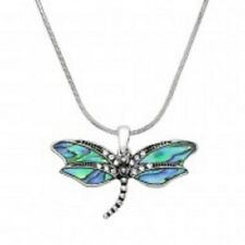 Dragonfly Necklace Pave Metal Pendant Snake Chain SILVER ABALONE Bug Jewelry