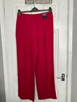 BNWT M&S Collection Women's Pink Wide Leg Mid Rise Trousers Size 14R