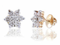 Pave 1.28 Cts Round Brilliant Cut Diamonds Stud Earrings In Fine 18K Yellow Gold