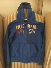 abercrombie kids boys sz M jacket muscle hoodie sweatshirt blue full zip