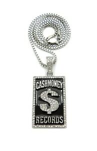 """New Cash Money Records Pendant With 20"""" or 24"""" Chain Rhodium Plated"""