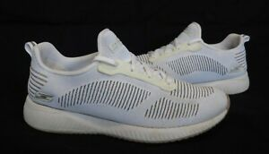 Ladies SKECHERS 'BOBS' Memory Foam White Lace-up Trainers Size UK 5