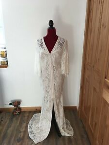 BHLDN x Tadashi Shoji Lorene Dress Gown Ivory Sz 10 Orig.$650