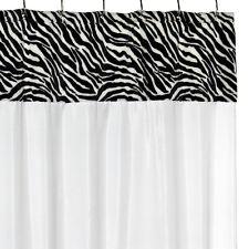 "Fabric Shower Curtain Serengeti Zebra Faux Fur Trimmed 70""x72"" Black/White"