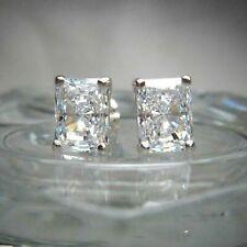 Certified 4.00 Ct Diamond Stud Earrings 14k White Gold Excellent Radiant Shape