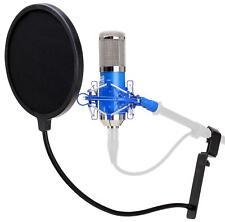 Studiomikrofon Großmembran Mikro Kondensator Recording Mic Popschutz Set Blau