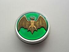 Translucent Green Antique Bronze Bat Nug Jar Purse Pill Weed Tin