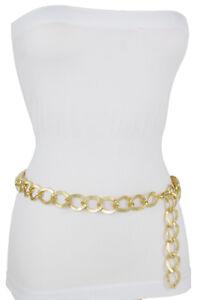 Women Fashion Skinny Waistband Belt High Waist Hip Gold Metal Chain Links XS S M