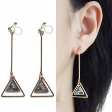 Triangle Abalone Shell Clip Earrings Dangle Gold Invisible Clip on Hoop Earring