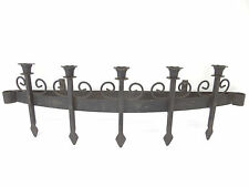 Antique Old Wrought Iron Metal Black Grate Candelabra Wall Sconce Candle Holder