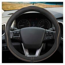 38cm Car Genuine Leather Steering Wheel Cover Comfrotable Soft Anti-Slip Grip US