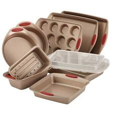 10pc Latte Cranberry Bakeware Set Heavy Gauge Steel Construction Silicone Handle