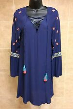 NWT SugarLips Embroidered Blue Pink Teal Oaxaca Bell Sleeves Beautiful dress