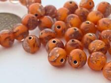 Vintage 7mm Orange & Metallic Gold Glass Beads 30