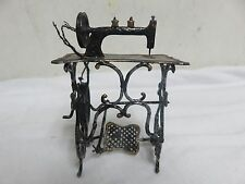Vintage Germany Made SEWING MACHINE w/Table Gold Trim w/Tread Metal Miniature