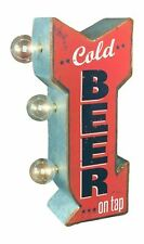 Cold Beer On Tap Arrow Shaped Double Sided Sign LED Lights Man Cave Bar Garage