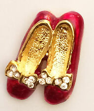 Ruby Slippers Tac Lapel Pin Brooch Wizard of Oz Rhinestone Red Shoes*USA*GiftBox