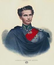 König Ludwig II. Portrait Faksimile nach alt.original Gemälde 9 auf Büttenpapier