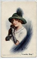 MILLER Lucky Dog Girl with Puppy Dog Donnina Cane Cappello PC Circa 1920