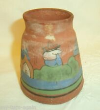 Vintage Mexican Folk Art Red Clay Pottery Hand Painted Vase Rabbit Makers Mark