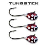 3 Pack - Tungsten Ice Fishing Jigs - MAROON RED GLOW SPOT (6 Size Variations)