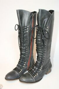 Steve Madden Womens Size 7 M Perrin Leather Tall Zip Laced Flat Combat Boots
