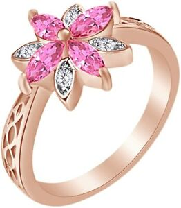 Marquise Cut Simulated Tourmaline Flower Engagement Ring  in Sterling Silver