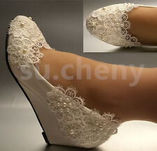 su.cheny White ivory pearls lace snowflakes WEDGE Wedding Bridal shoes size 5-11