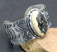 "Plated Jewelry Cuff Bracelet S-7-8"" Palm Root Jasper Gemstone Handmade Silver"