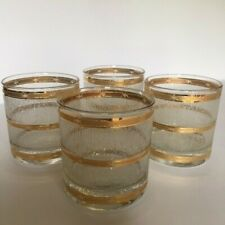 New ListingGold Trim Old Fashioned Glasses Barware Bamboo Texture Set of 4 Heavy Quality