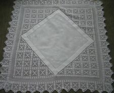 """ANTIQUE LINEN TABLE CLOTH 40"""" x 40"""" WHITE ON WHITE EMBROIDERY deep crotchet edge"""