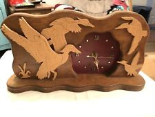 Vintage Wooden Clock Ducks Handmade Signed Hunting Parts Repair Time Decor